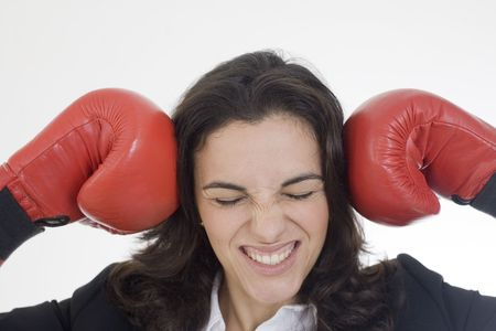 Angry woman with red boxing gloves photo