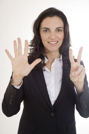 Young woman counting with seven fingers the number 7 Stock Photo - 6449888