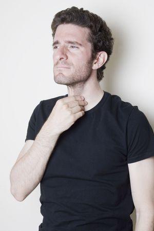 heartburn: Sore throat man