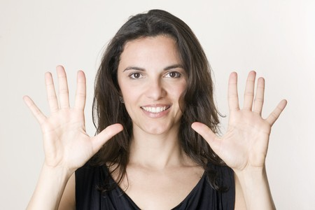 10 fingers: Counting 10 Stock Photo