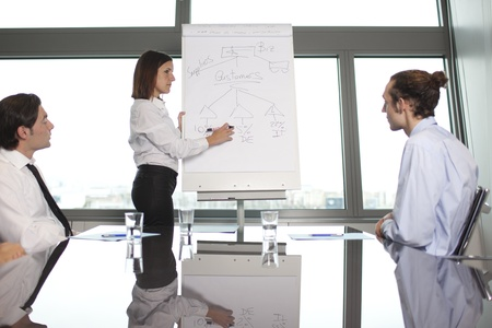 leadership training: Business training in front of a panorama window