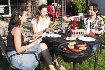 Barbecue party in the garden photo