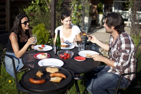 Barbecue party in the garden Stock Photo