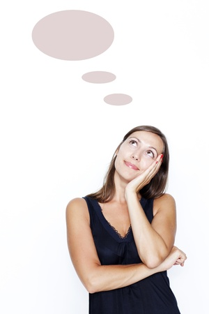 woman thinking on white background with a thought balloon photo