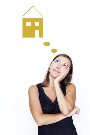 mortage: woman dreaming about real estate Stock Photo