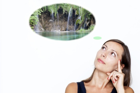 woman thinking about holidays and waterfalls on white background  photo