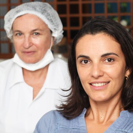 Woman happy with dentists work photo