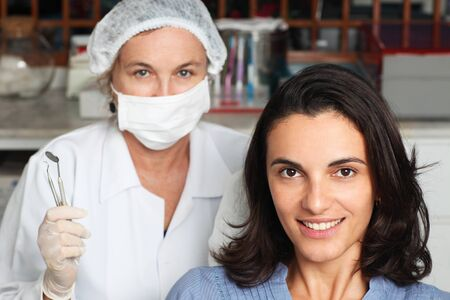 Woman happy with dentists work Stock Photo - 12047636