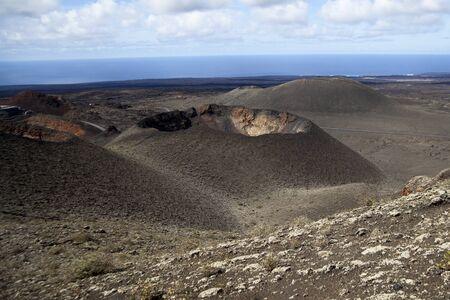 timanfaya: Volcano National Park Timanfaya in Lanzarote Spain Stock Photo