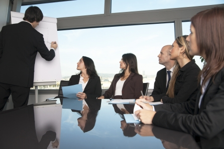 training consultant: boardroom presentation in a nice office with panorama view - six persons