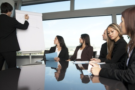 Group of office workers in a boardroom presentation photo