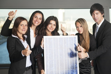Five business people sell solar energy photo