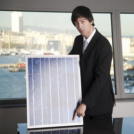 Salesman selling solar panel photo