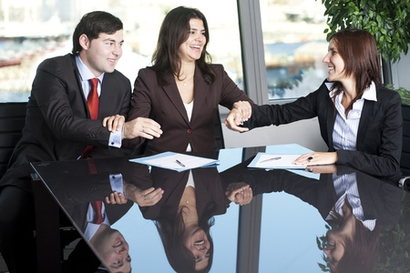arbitration: Businesswoman mediating and making business conciliation possible Stock Photo
