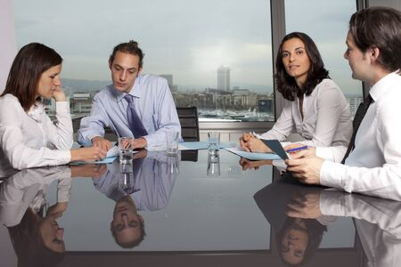 financial consultants: Bank consultants with clients Stock Photo