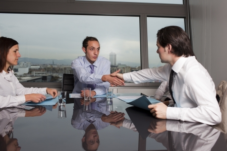 the litigation: Agreement in dispute Stock Photo