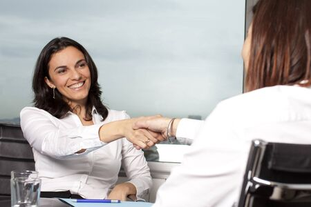 Welcome to the new job shaking hands Stock Photo - 12525628