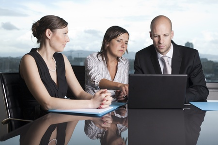 backing: Consultation with agent Stock Photo