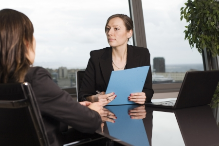 personally: Bank consultant with client Stock Photo