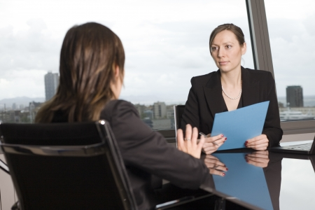 negotiation business: Bank consultant with client Stock Photo