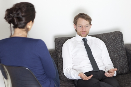 psychotherapy: Businessman at psychoanalysis
