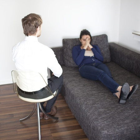 psychotherapy: Woman at psychoanalysis