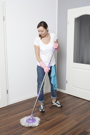house cleaner:  Woman cleaning the flat