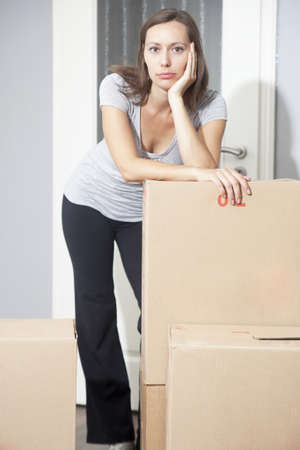 weary: Woman tired of moving house