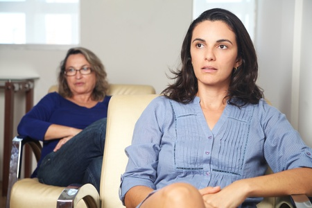 health service: Latin woman at psychotherapy Stock Photo
