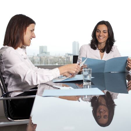 Recruiter checking the candidate during job interview  Archivio Fotografico