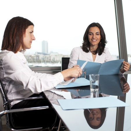 hr: HR expert smiling during job interview