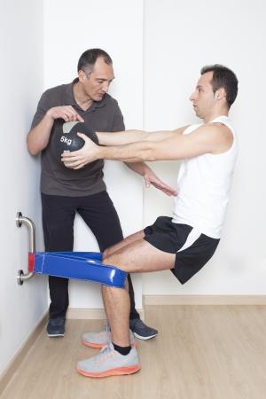 dark haired: functional training Stock Photo
