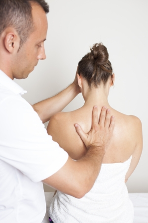 physical therapist: chiropractic care Stock Photo