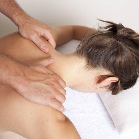 osteopathy: Female massage Stock Photo