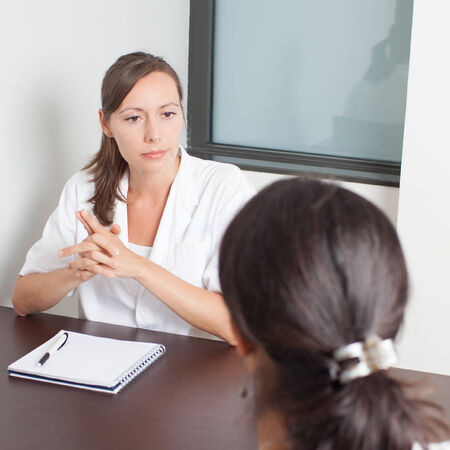 prescribe: Visit to the gynecologist Stock Photo