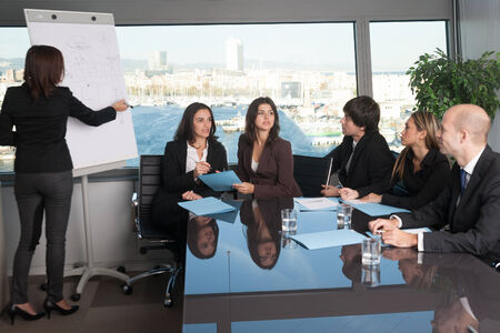 Training in board room photo