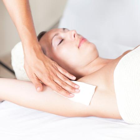armpit: Beautician removing body hair