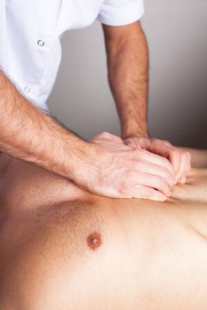 myofascial:  abdomen massage Stock Photo