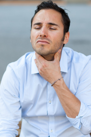swollen: Man with sore throat
