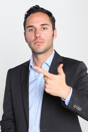 two object: Businessman counting number two Stock Photo