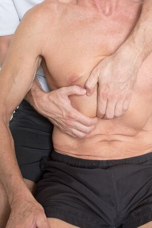 myofascial: chiropractor applying myofascial therapy