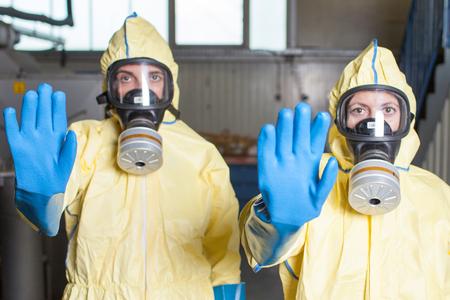 advertencia: Dos trabajadores de la salud proh�ben el acceso Foto de archivo