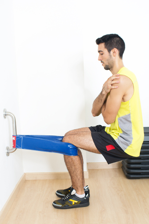 strenghten: Man doing balance training