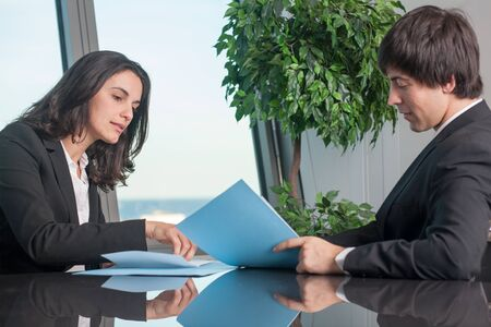 Businesswoman checking a contract