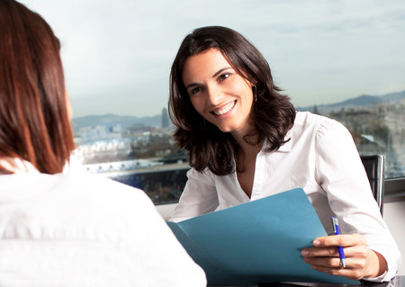 Female candidate during a job interview Banque d'images