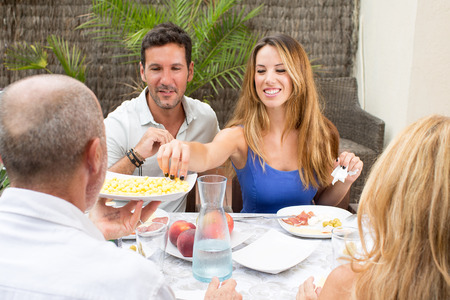 sharing food: Sharing food on the family table