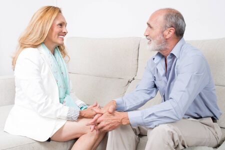 golden ager: Senior couple with positive emotions Stock Photo