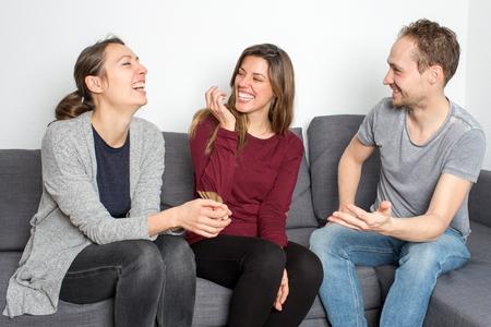 amused: three friends having fun