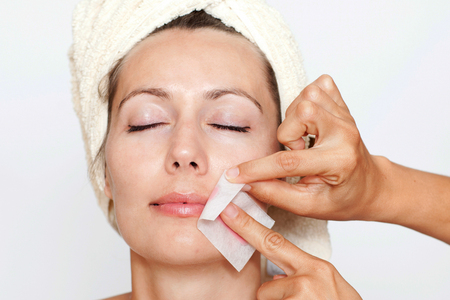 facial hair: facial hair depilation in a beauty spa