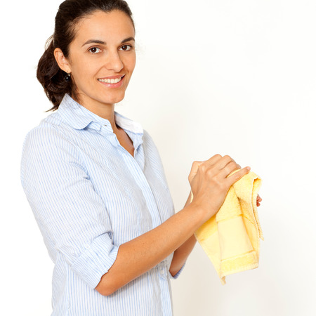 woman cleaning hands with towel